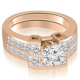 2.45 cttw. 14K Rose Gold Channel Set Diamond Princess and Round Cut Bridal Set