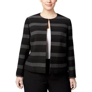 Tahari Womens Plus Blazer Striped Open Front - 24W