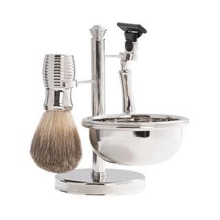 Unisex-Adult Chrome Shaving Set - Brush, Razor, Soap Bowl - Holds Gillet Mach3 Blades - multicolor