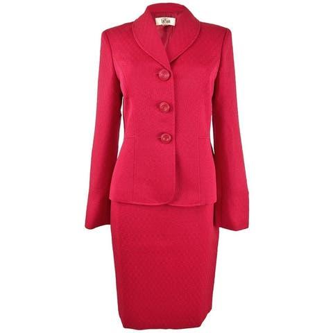Le Suit Women's Textured 3-Button Skirt Suit - Azalea