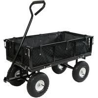 Sunnydaze Utility Cart w/ Folding Sides & Liner 400lb Capacity - Multiple Colors