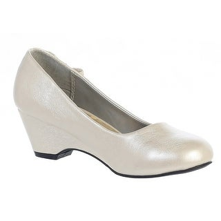 Girls Ivory Bow Gina Special Occasion Dress Wedge Shoes 11-4 Kids