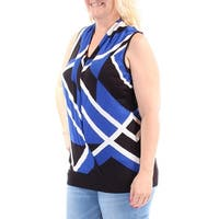 INC Womens Blue Color Block Sleeveless Scoop Neck Faux Wrap Top  Size: L