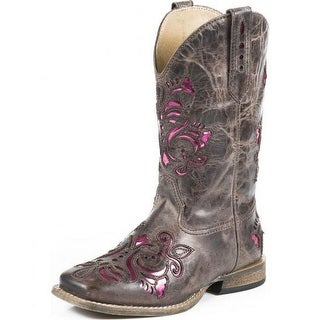 Roper Western Boots Girl Square Toe Underlay Brown