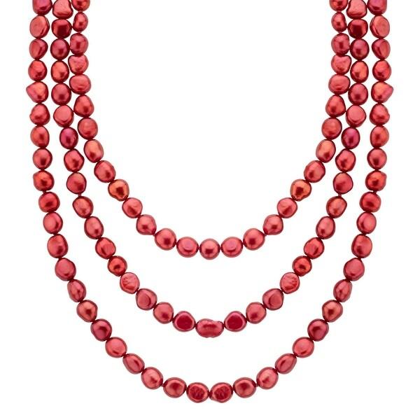 Honora 60-Inch 'Cherry' Freshwater Pearl Strand - Red