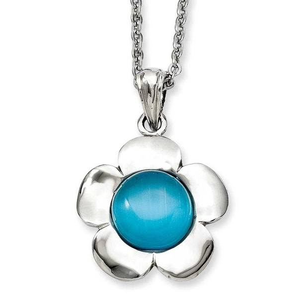 Stainless Steel Flower with Blue Agate Pendant 18in Necklace (2 mm) - 18 in