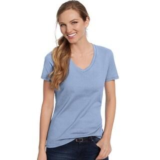 Hanes Women's Nano-T® V-Neck T-Shirt - Color - Light Blue - Size - 3XL