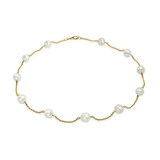 Bling Jewelry Freshwater Cultured Pearl 14K Yellow Gold Tin Cup Necklace