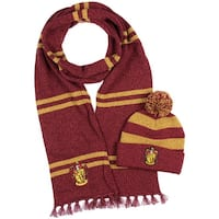 Harry Potter Hogwarts Houses Knit Scarf & Pom Beanie Set