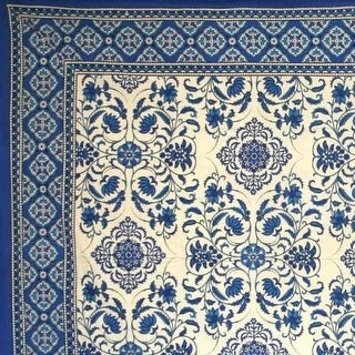 Handmade Victorian Bloom Floral Tablecloth 100% Cotton Blue 60x90 Rectangle Round Square