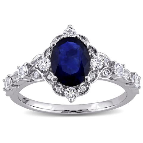 Miadora 10k White Gold Blue and White Sapphire with Diamond Accent Vintage Halo Engagement Ring