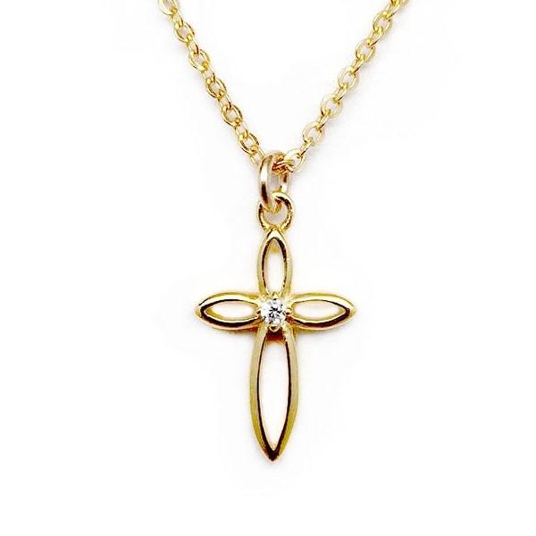 """Julieta Jewelry CZ Cross Gold Charm 16"""" Necklace"""