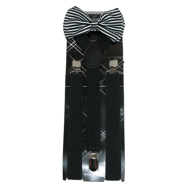 CTM® Men's Stripe Print Bow Tie with Solid Suspender Set - One size