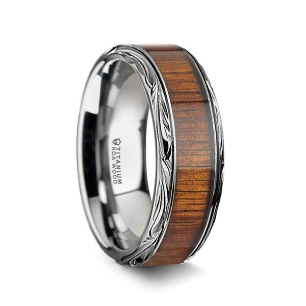 Ohana Koa Wood Inlay Anium Men X27 S Wedding Ring 10mm