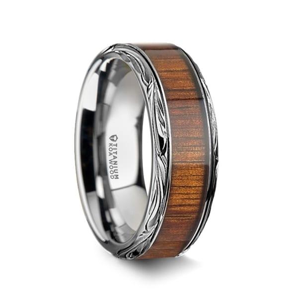 OHANA Koa Wood Inlay Titanium Men's Wedding Ring - 8mm