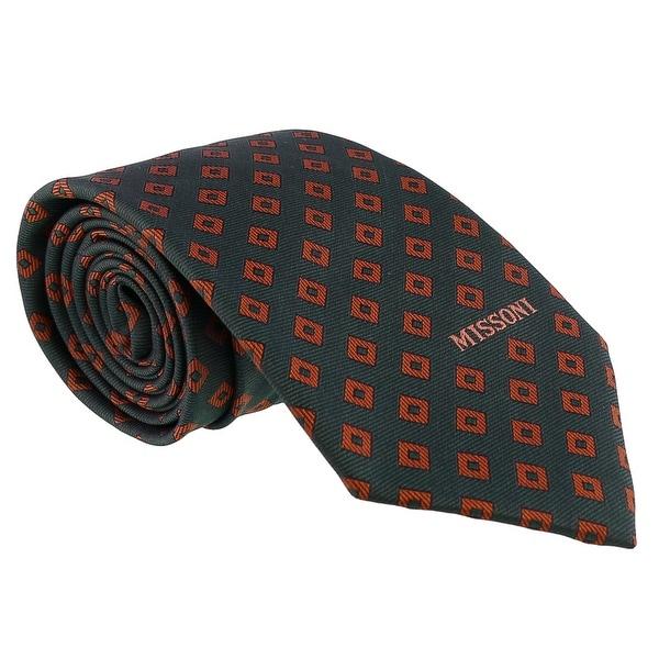 Missoni Diamond Forest Green/Brick Woven 100% Silk Tie - 60-3