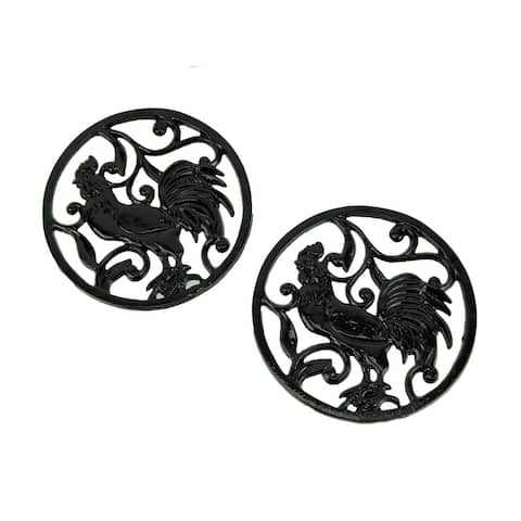 Black Cast Iron Round Rooster Leaf and Vine Trivet Set of 2 - 0.5 X 7 X 7 inches