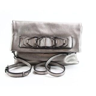 Vince Camuto Gray Luk Medium Metallic Clutch Leather Handbag Purse