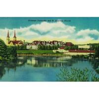 Spokane, WA Gonzaga St Aloysius - Vintage Halftone (Art Print - Multiple Sizes)