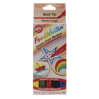 Food Writer Bold Tip Edible Color Markers .35oz 5/Pkg-Primary