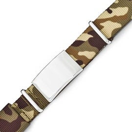 Chisel Stainless Steel Polished Brown Camo Fabric Adjustable ID Bracelet