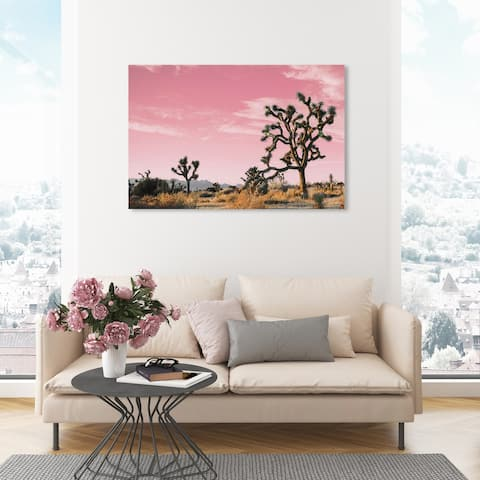 Oliver Gal 'Joshua Tree Pink II' Nature and Landscape Wall Art Canvas Print Desert Landscapes - Pink, Brown