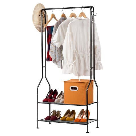 LANGRIA 2-Tier Commercial Clothing Garment Rack, Entryway Metal Coat Rack and Shoe Bench Storage Stand, Black