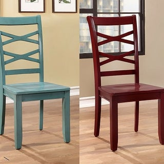 Transitional Side Chair Set Of 2, Red & Blue
