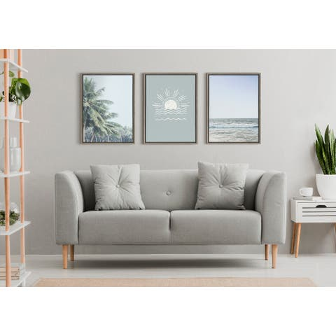 Kate and Laurel Sylvie Sea Framed Canvas by The Creative Bunch Studio