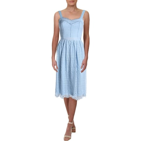 Aqua Womens Midi Dress Lace Ladder Stitch - Sky Blue