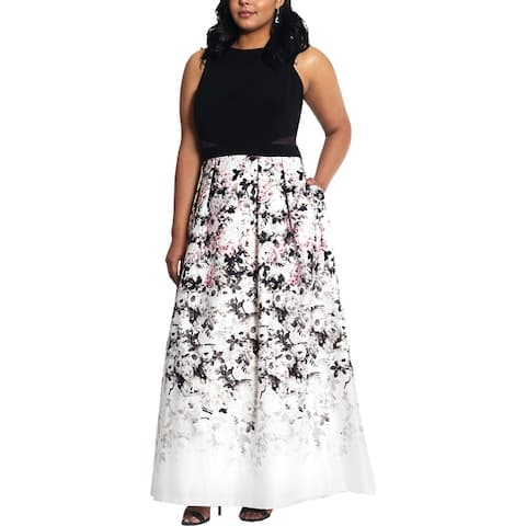 Xscape Womens Plus Formal Dress Printed Ball Gown - Black/Ivory