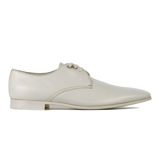 Prada Men's White Smoth Leather Lace Up Derby Luxury Shoes