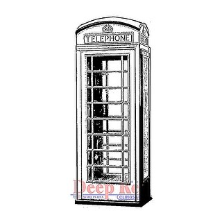 Deep Red Stamps Phone Booth Rubber Cling Stamp - 1.5 x 3.25