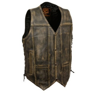 Mens Distressed Leather 10 Pocket Vest