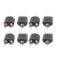 8pcs Double RCA Male Jack to Male Stereo Audio Video Y Type Adapter Connector