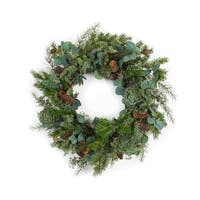 Pack of 2 Green and Brown Decorative Pine/Succulent/Eucalyptus Christmas Wreath 26.5""