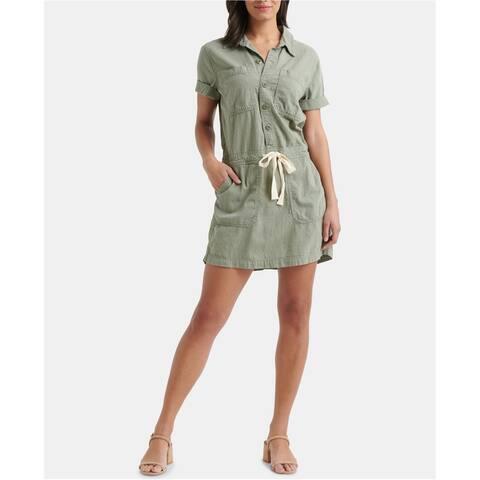 Lucky Brand Womens Button Up Drawstring Shirt Dress, Green, Large
