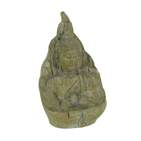 Ancient Stone Finish Buddha Indoor/Outdoor Tealight Candle Holder Statue - 9.5 X 6 X 4 inches