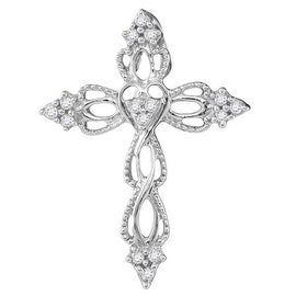 10K White Gold Cross With Diamonds Vintage Style 1/6cttw Intertwining Cross Ladies 24mm Tall