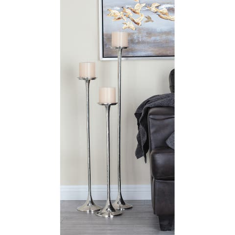 Silver Aluminum Modern Candle Holder (Set of 3) - 6 x 6 x 40