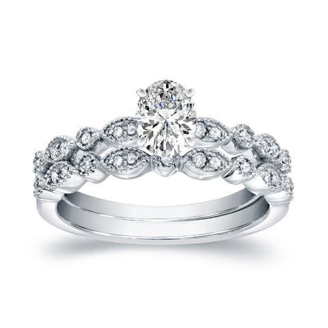 Auriya 14k Gold 3/4ctw Vintage Oval Diamond Engagement Ring Set