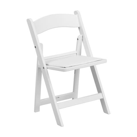Offex Kids White Resin Folding Chair with White Vinyl Padded Seat - 2 Pack