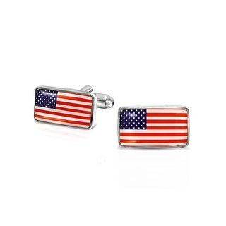Bling Jewelry USA American Flag Patriotic Mens Cufflinks Rhodium Plated