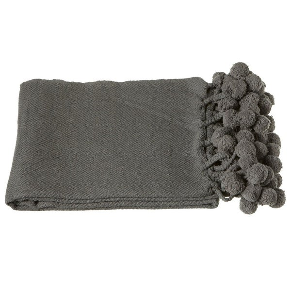 "Set of 2 Solid Charcoal Gray Throw Blankets with Pom-Pom Border 50"" x 60"""