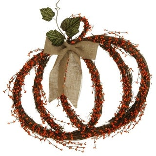 """25"""" Vine and Orange Berry with Leaves and Burlap Bow Pumpkin Autumn Wreath"""