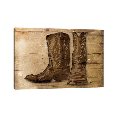 """iCanvas """"Sketched Boots"""" by On Rei Canvas Print"""
