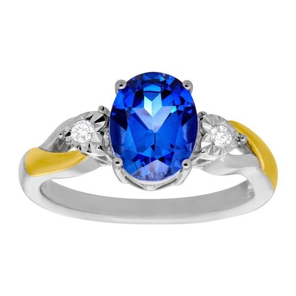 2 1/2 ct Ceylon Sapphire Ring with Diamonds in Sterling Silver and 10K Gold - Blue