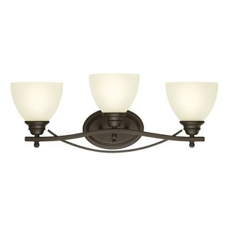 "Westinghouse 6303400 Elvaston 24"" Wide 3 Light Bathroom Vanity Light with Frosted Glass Shades - Gold"