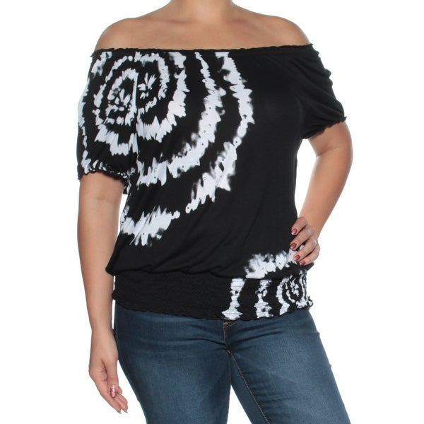 26e2d4ffbb3f8 Shop Womens Black Tie Dye Short Sleeve Off Shoulder Top Size L - On Sale -  Free Shipping On Orders Over  45 - Overstock.com - 24085985