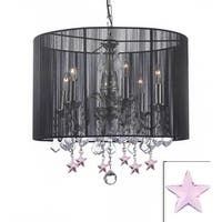 Crystal Chandelier Lighting With Large Black Shade & Pink Crystal*Stars*